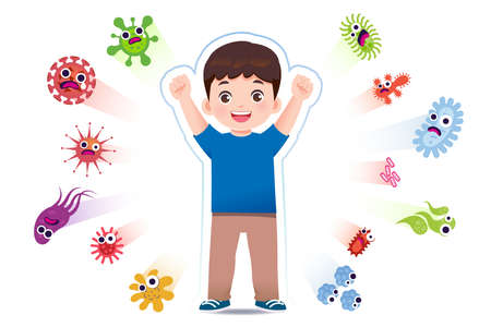 Asian boy have a immune to certain bacteria and viruses so that they can live a fun, age-appropriate life. Safety in keeping children away from serious diseases.
