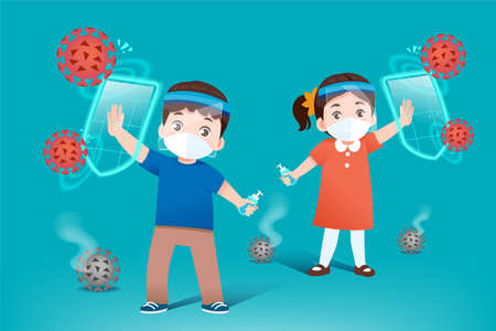 Prevent spreading disease for kids by wearing a mask, wearing a face sheet protective, and washing your hands with alcohol gel regularly.