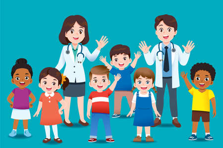 The doctor invites international kids group to come for annual health checkup or to check for diseases with relax. Professional General Medical Pediatrician character.
