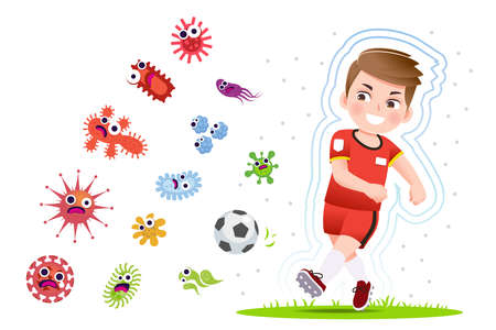 European boy play football to good healthy, away from disease and bacteria that risk their health.