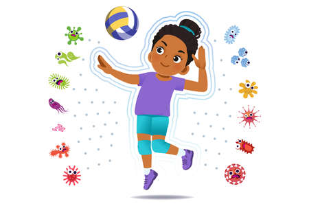 African girl play volleyball to good healthy, away from disease and bacteria that risk their health.