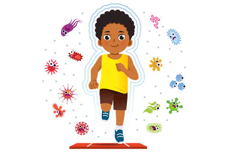African boy running to good healthy, away from disease and bacteria that risk their health.