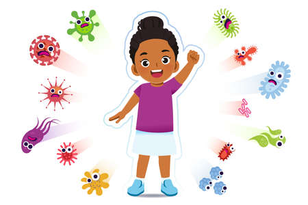 African girl have a immune to certain bacteria and viruses so that they can live a fun, age-appropriate life. Safety in keeping children away from serious diseases. 矢量图像