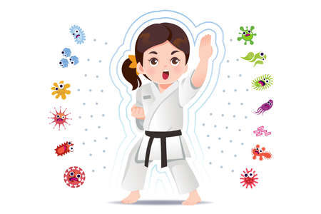 Asian girl practice judo to good healthy, away from disease and bacteria that risk their health.