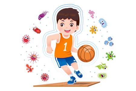 Asian boy play basketball to good healthy, away from disease and bacteria that risk their health.