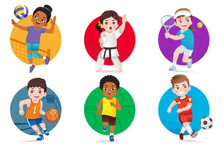 Children intently play sports that they are interested. Popular sports that promote healthy body growth to kids. 矢量图像