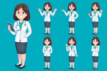 Asian doctor young woman short hair have different gestures for introducing work and medical services for children.