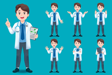 Asian doctor young man have different gestures for introducing work and medical services for children.