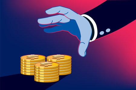 Business man profiting through money unfair methods. Stealing dollar on investment.