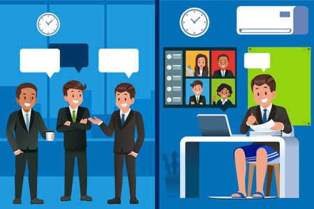 Business meetings and regular work and keeping a social distance. Using online media to connect with friends or colleagues in modern life. A casual meeting at your own home.