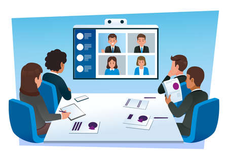 Group teleconferencing with people from different office. Using technology to make easy management and faster. 矢量图像