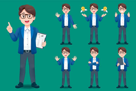 Asian young man teacher have different gestures for introducing classroom and learning services for children.