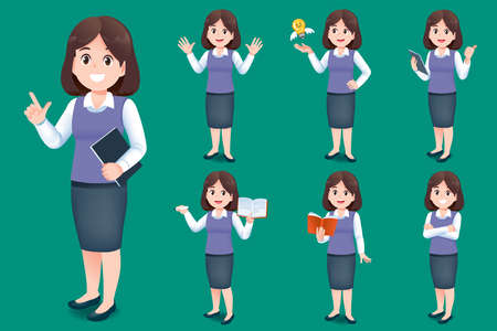 Asian young woman teacher have different gestures for introducing classroom and learning services for children.