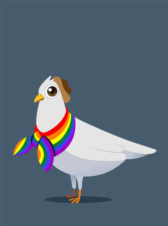 White pigeon mascot concept design for LGBT freedom life.
