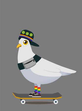 White pigeon mascot concept design for LGBT active life.