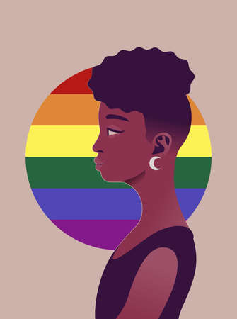 LGBT african people of side view. Human simplicity of the globalized world.