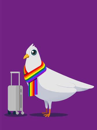 White pigeon mascot concept design for LGBT travel life.