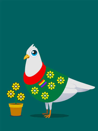 White pigeon mascot concept design for LGBT easy life.