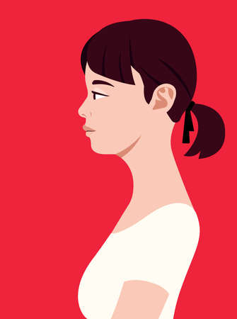 Beautiful asian woman of side view. Human simplicity of the globalized world. 矢量图像