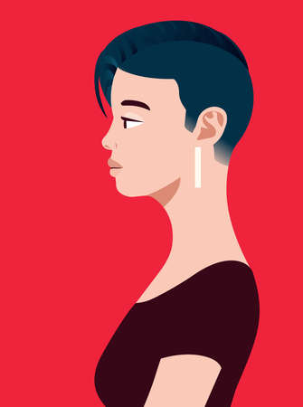 LGBT asian woman of side view. Human simplicity of the globalized world.