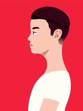 Handsome asian man of side view. Human simplicity of the globalized world.