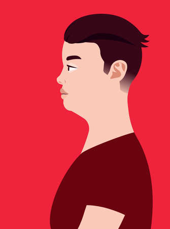 Handsome fat asian man of side view. Human simplicity of the globalized world. 矢量图像