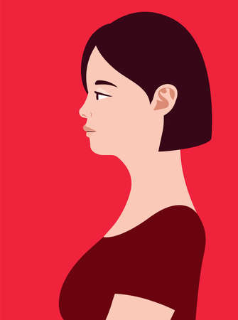 Beautiful fat asian woman of side view. Human simplicity of the globalized world.