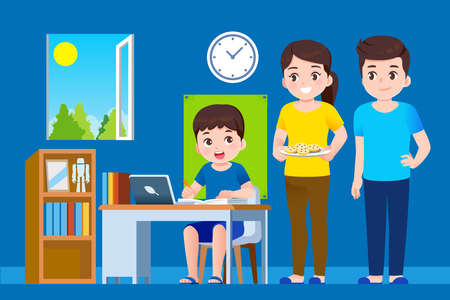 Parents and students help to management lesson the education at home. Online school concept. 矢量图像