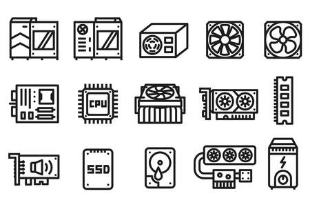 Computer hardware icon. Basic parts for performance system a computer in a case.