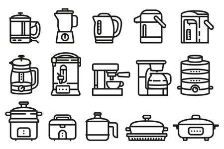 Cookware for boiling water make drinks and cooking with hot water. Rice cooker, kettle electric and coffee maker icon.