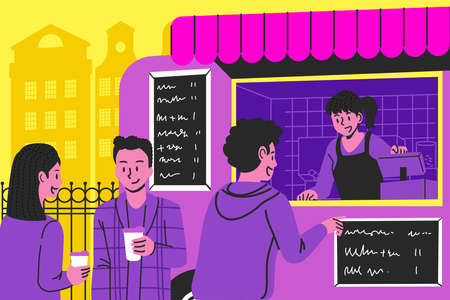 illustration of situation people buy coffee at food and drink truck on the street. Meeting of people in a festival.