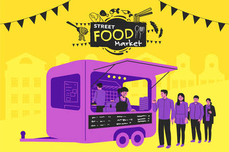 Setting up a street-market in the city. Street food truck style festival poster design. 矢量图像