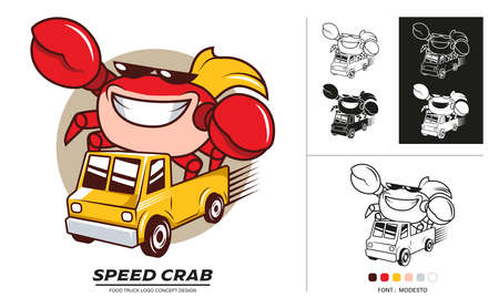 Food truck logo concept design. Delivery Seafood car service with speed.