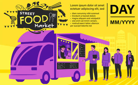 Setting up a street-market in the town. Schedule a street food delivery by truck poster design.