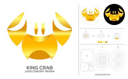 King crab minimal logo concept composition with golden ratio. Premium symbol and design process. 矢量图像