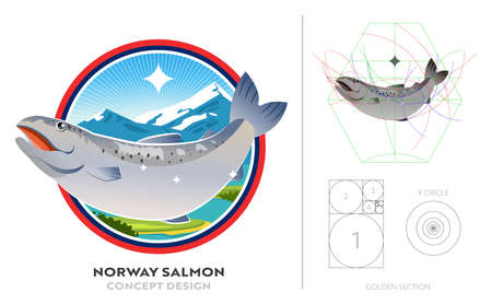 Salmon from norway in best river at mountain. Logo concept design with golden ratio. Banner of product fresh seafood.