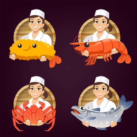 female japanese chef serve fresh ingredients. Seafood restaurant logo concept design. 矢量图像