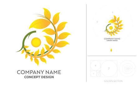 Rice farm brands or product from food company with golden ratio process concept design.