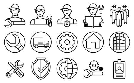 Basic standardized technical home service staff in icons and symbols set. Designed using the circle components of the golden ratio.