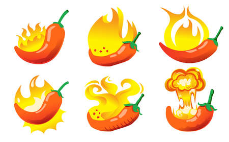 The symbol hot and dangerous ingredients for Describe the irritation made from chili peppers in delicious food product. 矢量图像