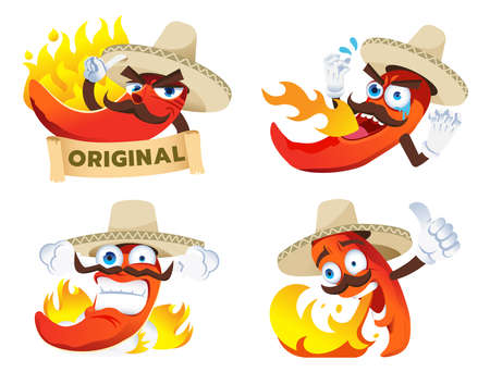 Chili cartoon character tasted a spicy from product's spiciness in Mexican style. Mascot for brands product concept design.