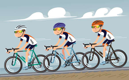 Bicycle practice training as a team together. Professional rider bike group with speed up at road.