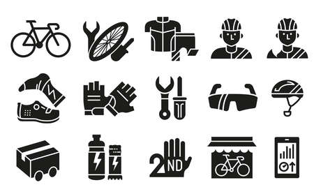 The silhouette symbol for distribution product, pre-owned change and maintenance bike services at shop bicycle. 矢量图像