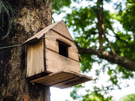 木の上の茶色の巣箱をぶら下げ