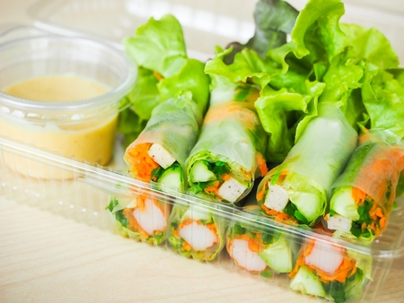 Salad Rolls made of Vegetables with Mayonnaise Sauce 写真素材