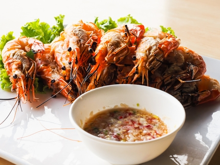 Grilled Shrimps With spicy sauce