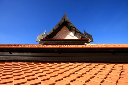 Roof pattern and blue sky in Thailand Stock Photo
