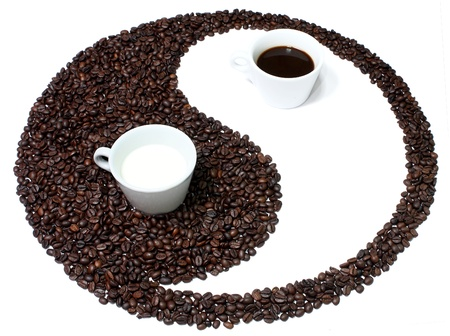 symbolized: Yin   Yang compare to darkness and brightness which symbolized by back and white color  This is same way as Coffee s darkness and white of milk  When they mixed it will be good combination of flavor