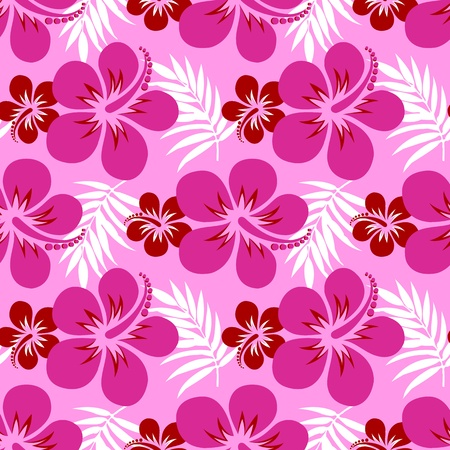 Bouquet of hibiscus on pink background,  illustration