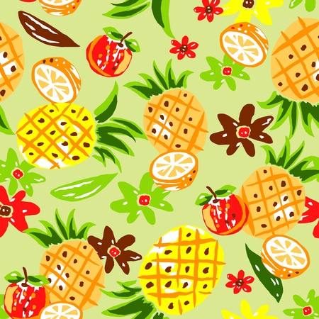 Fruit  design on the green background